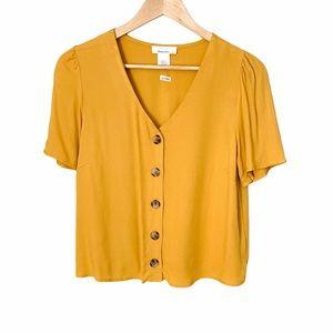 Urban Romantics Cropped Mustard Button Up Blouse